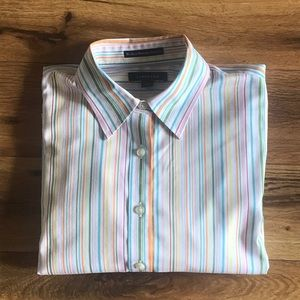 Lands' End Petite no iron striped button down top.